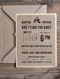 Rustic Wedding Invitation, Recycling Eco Invitation, Birds in Love Invitation, Modern Calligraphy Invitation, Belly Band Invitation