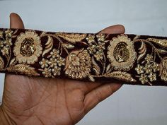 Saree Border Trim By The Yard Embroidered Sewing Trim Ribbon Decorative Ribbon Trimmings Craft Ribbon, Costume trim, Fashion tape trim Maroon, Ivory, Beige Color and Dull Gold Embroidered designer Fabric Trims on Maroon Color Velvet fabric. This beautiful Lace can be used for