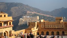 Amer Fort stands atop a range of craggy hills outside Jaipur, offering magnificent views.