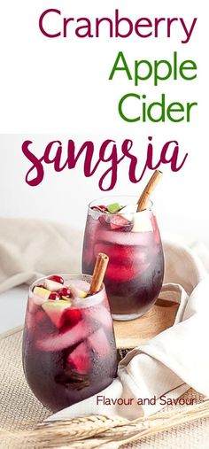 Cranberry Apple Cider Sangria. Celebrate the season with this simple Cranberry Apple Cider Sangria flavoured with fresh cranberries and apples. This one is a crowd-pleaser for any season! #sangria #cranberry #apple #applecider #thanksgiving #Christmas #fall