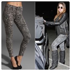 "♣️ J Brand snow leopard skinny jeans leggings -J Brand leggings in Black, gray and beige leopard-print stretch-denim - Mid-rise, leggings-style - Belt loops, faux front pockets, two back pockets - Button and concealed zip fastening at waist - 98% cotton, 2% elastane - Machine wash cold inside out to avoid color transfer - Designer color: Snow Leopard size 24. Waist 27"" rise 8.5"" inseam 30"". Never been worn! Perfect condition.  clean, smoke free home  We ❤️ offers but will only be considered…"
