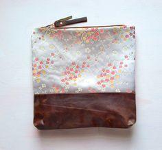 F A W N SATIN Floral Leather Clutch Large Make by GiftShopBrooklyn, $88.00