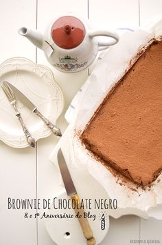 Bocadinhos de Açúcar: Brownie de Chocolate Negro e o 1º Aniversário do B...