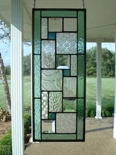 Stained/Leaded Glass | Stained Glass Panel Seafoam Green Window Transom