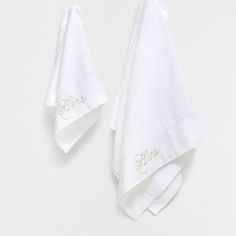 HAFTOWANY LNIANY RĘCZNIK (KOMPLET 2 SZT.) - Ręczniki - Łazienka   Zara Home…