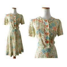 50s Floral Dress 1950s Day Dress Linen Dress Bias Cut Blue Floral Dress 50s Dress Midi Orange Floral 1950s Dress Mid Century Medium Large