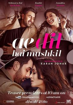 Most Aveted Aye Dil Bollywood film has released the first look difficult. Yesterday evening, director Karan Johar fans the first glimpse of the film appeare