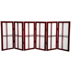 "Oriental Furniture 26"" Desktop Double Cross Shoji Screen 6 Panel Room Divider Finish: Rosewood"