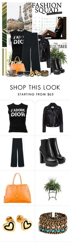 """J'Adore"" by christyaz214 ❤ liked on Polyvore featuring Christian Dior, Sandro, MANGO, Hogan, Prada, The Cambridge Satchel Company, PLANT, Hillier London, DANNIJO and PlatformBoots"