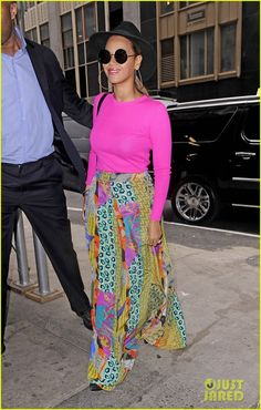 Beyonce shines in a colorful ensemble as she is spotted out and about in NYC