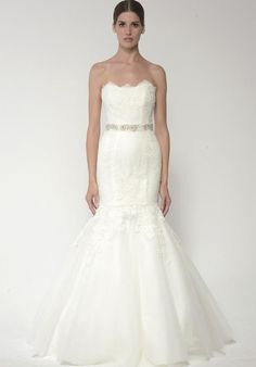BLISS Monique Lhuillier strapless gown with tulle skirt and embroidered lace I Style: 1405 I https://www.theknot.com/fashion/1405-bliss-monique-lhuillier-wedding-dress?utm_source=pinterest.com&utm_medium=social&utm_content=june2016&utm_campaign=beauty-fashion&utm_simplereach=?sr_share=pinterest