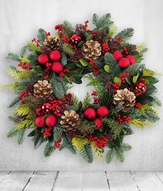 88 Stunning Red Christmas Wreaths Decoration Ideas to Festive Your Home Look - Christmas Wreaths To Make, Holiday Wreaths, Christmas Crafts, Red Christmas Flower, Christmas Flower Arrangements, Outdoor Christmas, Xmas Decorations, Christmas Inspiration, Happy Holidays