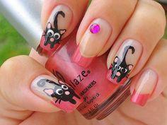 Cat nail art design Miss Trendilicious Cat Nail Designs, Pretty Nail Designs, Cat Nail Art, Cat Nails, Fancy Nails, Love Nails, Gorgeous Nails, Pretty Nails, Creative Nails