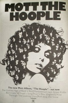 The graphics in this 1970s music-magazine ad for a Mott the Hoople album reveal the grist of the times. Courtesy of Simon Reynolds.