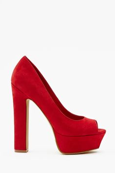 """Chemistry Platform Pump - Red: Totally hot red vegan suede platform pumps featuring a rounded peep-toe and chunky heel. Fully lined, cushioned insole. Looks amazing paired with a party dress and metallic clutch! By Nasty Gal.        *Synthetic Leather  *Height: 8""""   *Heel Height: 6""""  *Platform Height: 1.5""""  *Imported"""