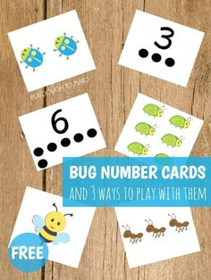Free Bug Number Cards! A fun counting activity for toddlers and preschool kids this spring or during a bug unit! #bugunit #toddlers #preschool #countingfreebies #playdoughtoplato