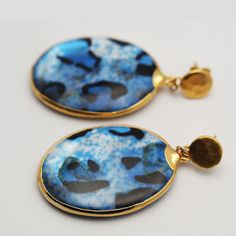 "Blue Candy Shell ""Cheeta"" Earrings on Gold Verneil Posts"