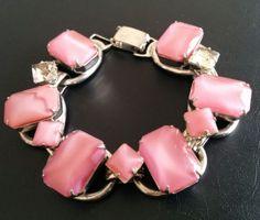 JULIANA-Vintage-Bracelet-Pink-Glass-Moonglow-Rhinestone-Book-Chain-WOW-4338