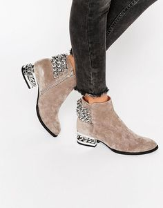 81b24f3e71ef Image 1 of Jeffrey Campbell Chain Detail Suede Heeled Ankle Boots Suede  Heels
