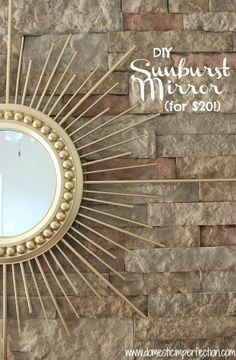 32 Ideas Diy On Budget Gold Sun Burst Mirror For An Amazing Living Room Wall, Mirror designs add an effortless means to. Although this mirror might appear to be a simple lighted piece, it is much more than that. The mirror has a. Gold Diy, Spiegel Gold, Gold Sunburst Mirror, Wooden Pallet Signs, Diy Wall Art, Diy Artwork, Wall Decor, Diy Craft Projects, Craft Ideas