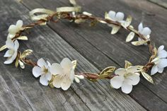 Ivory Wedding Flower CrownGreek Gold by SilverDoveJewelry on Etsy