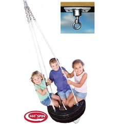 Tire Swing for Swing Set Swivel Mount Kids Swing Outdoor Playground Hanging Rope #SwingNSlidePlaysets