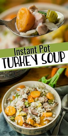 Need new ideas for using up leftover turkey? Try this easy homemade instant pot turkey soup. This creamy and vegetable filled Instant Pot Turkey Soup with rice is a delicious comfort food and a great recipe for using up leftover turkey. Make it with wild rice or white rice for a delicious homemade turkey soup. This dairy free recipe is delicious when made with chicken too!