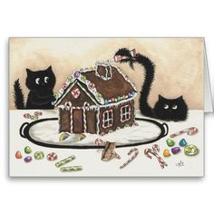 Peek &  Boo Black Cat Christmas Card by Bihrle.  Cute image of two black cats decorating a gingerbread house.  <3  #black #cat #christmas