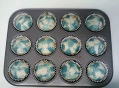 Blue Camo Cupcakes, a box of cake mix is 4cups. separate into 4 bags use food coloring to make different shades then place in fridge for 1 hour then pour into papers. bake as per directions on box. Wa La.