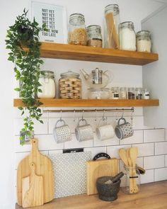 { HAPPY FRIDAY } Had a little change around with my kitchen shelves this week, they kept looking so messy before! Feel like I'm going… Kitchen Shelf Decor, Kitchen Shelves, Diy Kitchen, Kitchen Interior, Kitchen Taps, Cupboards, Kitchen Organisation, Organization, Cuisines Design