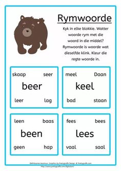 'n Afrikaanse Lees- en skryfprogram vir tuisskolers of onderwysers. 'n Afrikaanse Lees- en skryfprogram vir graad 1 tot graad 3 Grade R Worksheets, Preschool Worksheets, Preschool Cutting Practice, Afrikaans Language, Classroom Expectations, Rhymes For Kids, Spelling Words, Speech Language Pathology, Teaching Activities