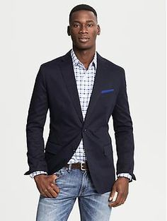 Tailored-Fit Cotton Sateen Blazer | Banana Republic - good blue combo w/the light washed jeans