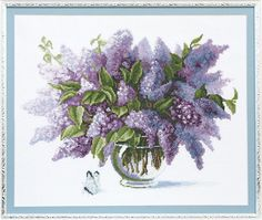 Counted Cross Stitch Kit, Scented lilac, Floral cross stitch pattern, Needlepoint kit, Aida 14 by hobbyshopclub on Etsy