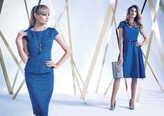Lookbook -  Autumn Winter 2014/15 niebieska sukienka rozkloszoana z paskiem, tunika, ołówkowa spódnica