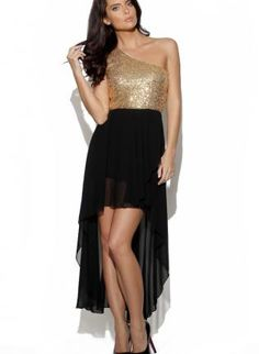 Gold sequin dress with black top