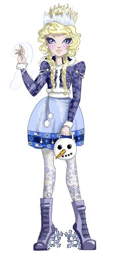 Hey everyone. I'm Winter Frost. Daughter of Jack Frost. I'm not sure if I'm a Royal or a Rebel yet. I think I'm going to be a Royal. I'm a lot like my dad. I love to have fun and make it snow. I think I'll really like it here.