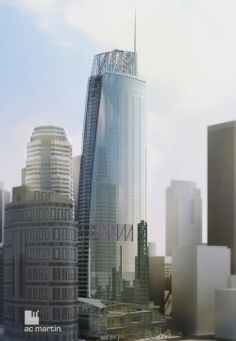 """""""Wilshire Grand"""": Soon to be the tallest building in Los Angeles, this $1 billion dollar tower will feature a 900 room luxury hotel, 400,000 SF of office space, and 45,000 SF of retail in it's roughly 2 million SF plan. The site is currently being excavated to the maximum depth of 106 ft in preparation for one of the largest concrete pours in Los Angeles history: 3 days of truck convoys shooting more than 24,000 cubic yards of concrete.   Architects: AC Martin Partners (completion: 2016)"""