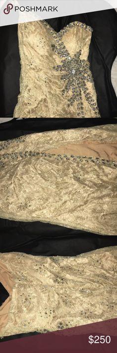 Terani Couture prom dress One strap long slit on onside prom dress nude Terani Couture Dresses Prom