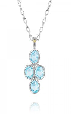 Tacori Island Rains SN15202 | blue topaz gemstone pendant necklace with cable chain | Milanj Diamonds