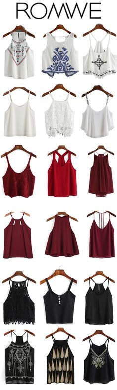 Tank top in there colors. White/red/black tank top, plain top,print top,lace tank top. Fashion style summer spaghetti strap top. Cute outfits summer vest for girls.Super soft street tee.