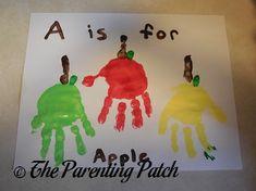 A Is for Apple Handprint Craft #kindergarten #homeschool @parentingpatch