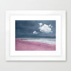 LONELY BEACH Framed Art Print by @viaina