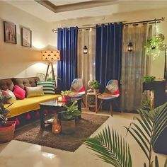 Home Room Design, Home Interior Design, Living Room Designs, India Home Decor, Ethnic Home Decor, Indian Living Rooms, Colourful Living Room, Home Decor Furniture, Home Decor Bedroom