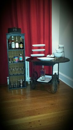 My $30 mini bar! Ready to entertain guests for the holidays though is missing the the most important wine lol