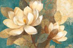 Turquoise Magnolias Print by Albena Hristova at Art.com