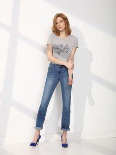 Pantaloni Top Secret Blue - Top Secret - www. Blue Trousers, Pants, Blue Jeans, Top Secret, Simple Shirts, Embroidered Jeans, Blue Tops, Mom Jeans, Your Style