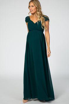 Forest Green Off Shoulder Chiffon Maxi Maternity Dress