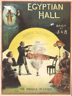 Illusionists and spiritualists were popular attractions in theatres and exhibition halls. Image: Modern Witchery, 1894.