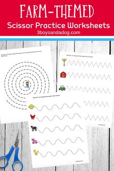 These farm-themed worksheets encourage cutting practice for preschoolers. They will help your little ones practice using scissors while building fine motor skills. Preschool Cutting Practice, Cutting Activities, Printable Activities For Kids, Preschool Learning Activities, Free Preschool, Preschool Lessons, Kindergarten Worksheets, Scissor Practice, Scissor Skills
