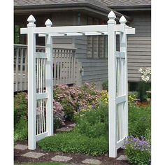 The Dura-Trel Courtyard Vinyl Pergola Arbor will add a regal touch to your garden. The classic pergola styling with capped finials is the perfect.